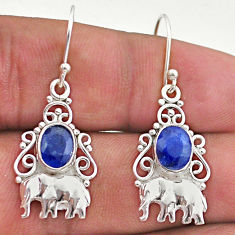 4.06cts natural blue sapphire 925 sterling silver elephant earrings t46990