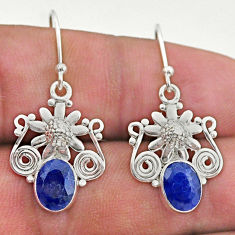 4.26cts natural blue sapphire 925 sterling silver flower earrings jewelry t46982
