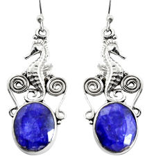 10.26cts natural blue sapphire 925 sterling silver seahorse earrings r24918