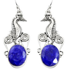 10.40cts natural blue sapphire 925 sterling silver seahorse earrings r24919
