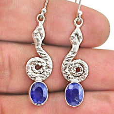 3.51cts natural blue sapphire 925 sterling silver snake earrings jewelry t40238