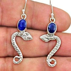 3.29cts natural blue sapphire 925 sterling silver snake earrings jewelry t40265