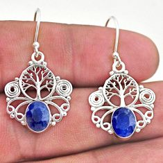 4.07cts natural blue sapphire 925 sterling silver tree of life earrings t46983