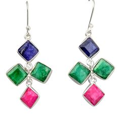 17.35cts natural blue sapphire emerald ruby 925 silver dangle earrings d47566