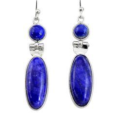 15.34cts natural blue sapphire lapis lazuli 925 silver dangle earrings r19921