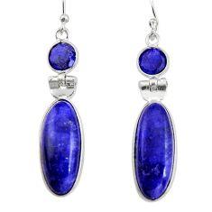 14.73cts natural blue sapphire lapis lazuli 925 silver dangle earrings r19922