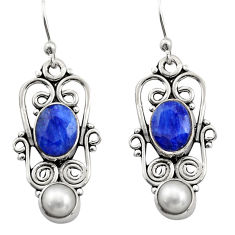 5.08cts natural blue sapphire pearl 925 sterling silver dangle earrings r21690