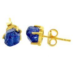 5.85cts natural blue sapphire raw 14k gold handmade stud earrings t7461
