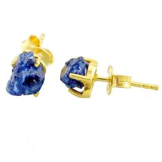 4.86cts natural blue sapphire raw 14k gold handmade stud earrings t7462