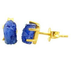 5.23cts natural blue sapphire raw 14k gold handmade stud earrings t7463