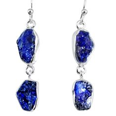 15.85cts natural blue sapphire rough 925 sterling silver dangle earrings r55373