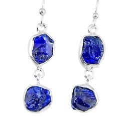 13.55cts natural blue sapphire rough 925 sterling silver dangle earrings r55374