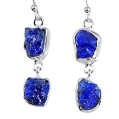 17.16cts natural blue sapphire rough 925 sterling silver dangle earrings r55377