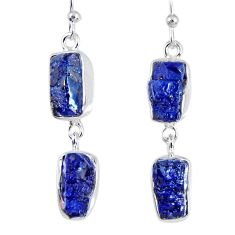 17.20cts natural blue sapphire rough 925 sterling silver dangle earrings r55379
