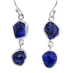12.60cts natural blue sapphire rough 925 sterling silver dangle earrings r55385