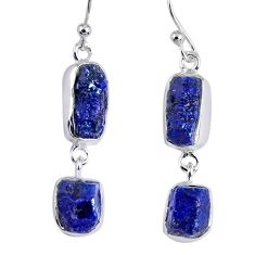 17.20cts natural blue sapphire rough 925 sterling silver dangle earrings r55386