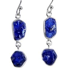 16.17cts natural blue sapphire rough 925 sterling silver dangle earrings r55398