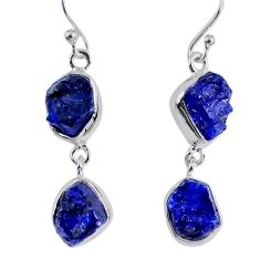 16.70cts natural blue sapphire rough 925 sterling silver dangle earrings r55399
