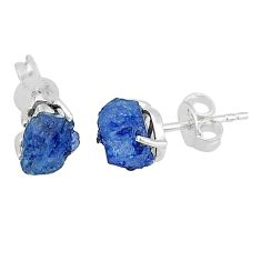 4.84cts natural blue sapphire rough 925 sterling silver earrings jewelry t7493