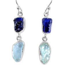 15.39cts natural blue sapphire rough aquamarine rough 925 silver earrings r55441
