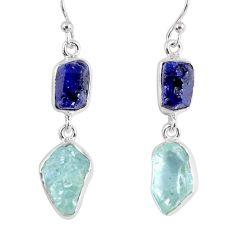 15.85cts natural blue sapphire rough aquamarine rough 925 silver earrings r55442