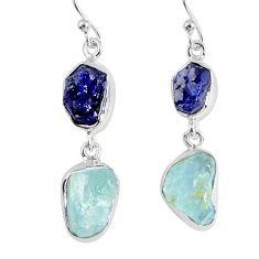 16.70cts natural blue sapphire rough aquamarine rough 925 silver earrings r55443