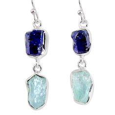 15.85cts natural blue sapphire rough aquamarine rough 925 silver earrings r55445