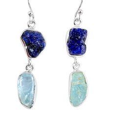 17.20cts natural blue sapphire rough aquamarine rough 925 silver earrings r55446