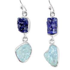 17.69cts natural blue sapphire rough aquamarine rough 925 silver earrings r55447