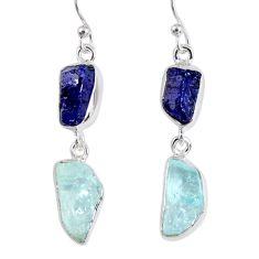 15.29cts natural blue sapphire rough aquamarine rough silver earrings r55461