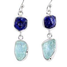 15.85cts natural blue sapphire rough aquamarine rough silver earrings r55462
