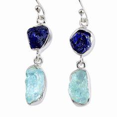 14.40cts natural blue sapphire rough aquamarine rough silver earrings r55463