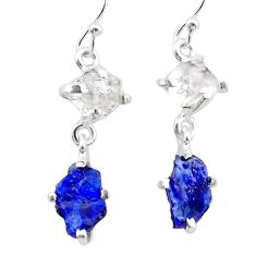 7.46cts natural blue sapphire rough herkimer diamond 925 silver earrings t25622
