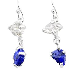 8.87cts natural blue sapphire rough herkimer diamond 925 silver earrings t25623