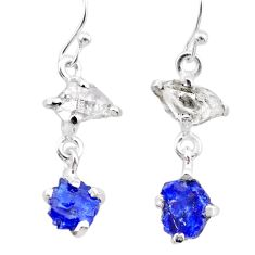 8.01cts natural blue sapphire rough herkimer diamond 925 silver earrings t25628