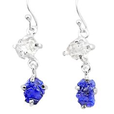 9.96cts natural blue sapphire rough herkimer diamond 925 silver earrings t25630