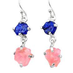 10.11cts natural blue sapphire rough rose quartz raw silver earrings t25617