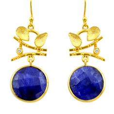 18.60cts natural blue sapphire topaz 925 silver 14k gold dangle earrings r32892