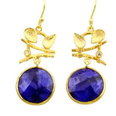 19.55cts natural blue sapphire topaz 925 silver 14k gold dangle earrings r32893