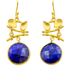 19.06cts natural blue sapphire topaz 925 silver 14k gold dangle earrings r32894