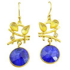 11.62cts natural blue sapphire topaz 14k gold handmade dangle earrings t11536