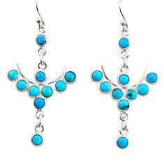 7.98cts natural blue sleeping beauty turquoise 925 silver dangle earrings r45086