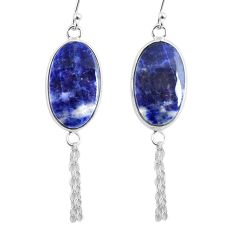 12.99cts natural blue sodalite 925 silver handmade dangle earrings r75617