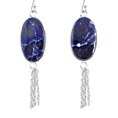 14.91cts natural blue sodalite 925 silver handmade dangle earrings r75658