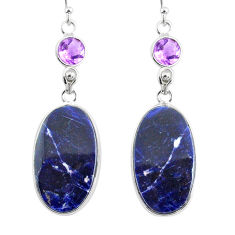 16.71cts natural blue sodalite amethyst 925 silver dangle earrings r75607