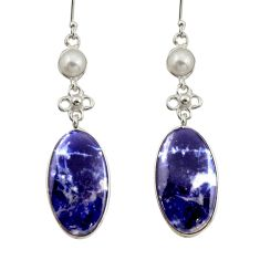 20.40cts natural blue sodalite pearl 925 sterling silver dangle earrings d47565