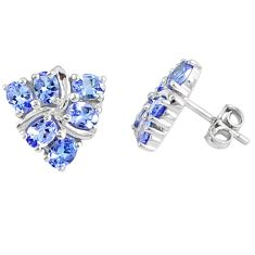 Natural blue tanzanite 925 sterling silver stud earrings jewelry c20680