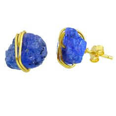 10.70cts natural blue tanzanite raw 14k gold handmade stud earrings r79750