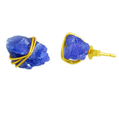 9.45cts natural blue tanzanite raw 14k gold handmade stud earrings r79753