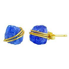 9.40cts natural blue tanzanite raw 14k gold handmade stud earrings r79754